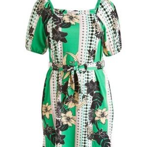 Green Floral Belted Puff-Sleeve Dress NWT